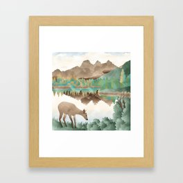 Deer Landscape Framed Art Print