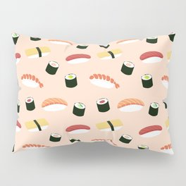 Lovely Japanes sushi drawing illustration on pastel background. Maki ands rolls with tuna, salmon, shrimp, crab. Pillow Sham