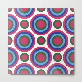 Circle Circle:  Fuchsia, Kelly Green, Turquoise + Blue Metal Print