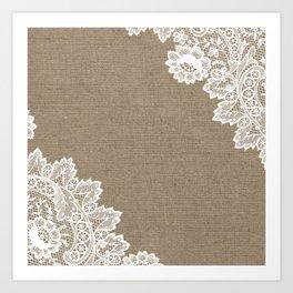 Lace Corners on Burlap Art Print