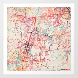 Brentwood map Tennessee TN Art Print
