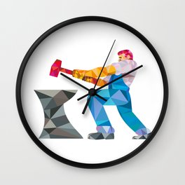 Blacksmith Worker Striking Hammer Anvil Low Polygon Wall Clock