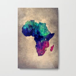 Africa map blue brown Metal Print