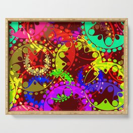 Texture of bright colorful gears and laurel wreaths in kaleidoscope style on a dark red background. Serving Tray