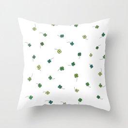 4 Leaf Clovers Throw Pillow