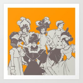 Vintage Ladies APRICOT / Vintage illustration redrawn and repurposed Art Print