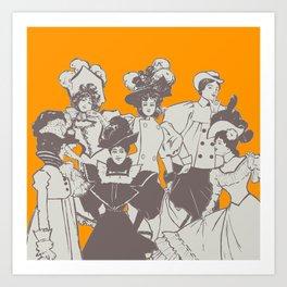 Vintage Ladies APRICOT / Vintage illustration redrawn and repurposed Art Print