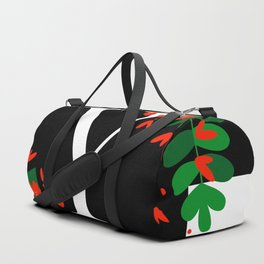 Y - Monogram Black and White with Red Flowers Duffle Bag