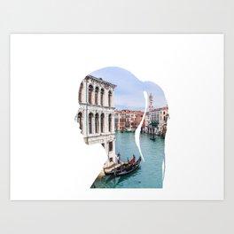 Female silhouette with Venice Art Print