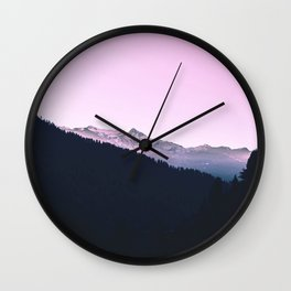 Mountain Forest Sky Pink Pastel Wall Clock