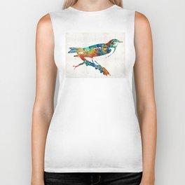 Colorful Bird Art - Sweet Song - By Sharon Cummings Biker Tank