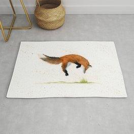 Jumping Jack Fox - animal watercolor painting Rug