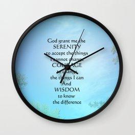 Serenity Prayer September Sky Wall Clock