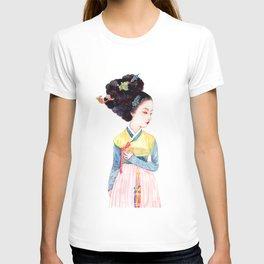 Watercolor Korean beauty - Red Bow T-shirt