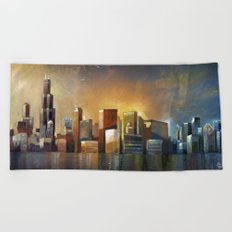 Chicago Sunrise Beach Towel