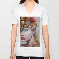 alice in wonderland V-neck T-shirts featuring Wonderland by HeatherIRELANDArtz