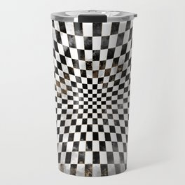 Chessboard Black Watercolor and gold Travel Mug