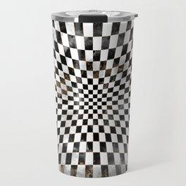 Chessboard Black Watercolor and gold Travel Mug