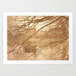House by the River_brown version_brown vintage style landscape Van Dyke print Art Print