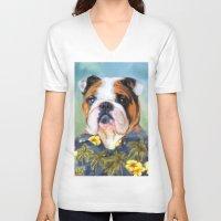 english bulldog V-neck T-shirts featuring Chic English Bulldog by Jai Johnson