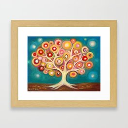 Tree of life with colorful abstract circles Framed Art Print