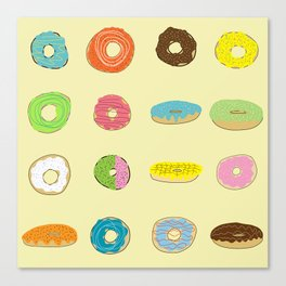 Sixteen Donuts  -Yellow Canvas Print
