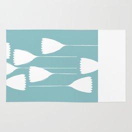blue and white cutout Rug