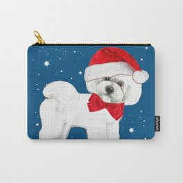 Bichon Frise red christmas holiday themed pattern print pet friendly dog breed gifts Carry-All Pouch