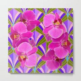 Pink & Fuchsia Purple Art Deco Orchids Art Metal Print
