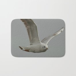Seagull In Flight Against Gray Sky Vector Bath Mat