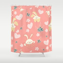 Easter Rag Bunny - heart, tulip and pink kids Shower Curtain