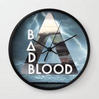 bastille Wall Clocks featuring Bastille - Bad Blood by Thafrayer