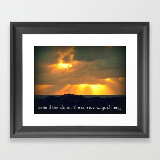 The Sun Shines Through The Clouds Framed Art Print