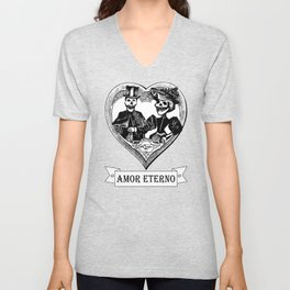 Amor Eterno | Eternal Love | Calavera Couple | Red | Black | Unisex V-Neck