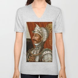Vintage William The Conqueror Painting Unisex V-Neck