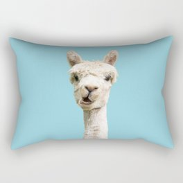 Cute alpaca portrait on blue sky illustration Rectangular Pillow