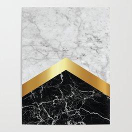 Arrows - White Marble, Gold & Black Granite #147 Poster