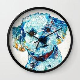 Small Dog Art - Who Me - Sharon Cummings Wall Clock