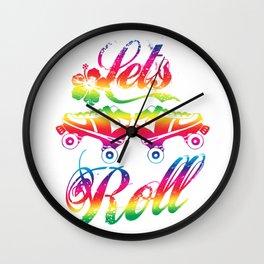 Let's Roll Roller Skating Wall Clock