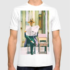 Giraffe reads the paper... White Mens Fitted Tee MEDIUM