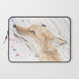 """Watercolor Painting of Picture """"Fox in the Rain"""" Laptop Sleeve"""