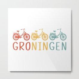 Groningen Retro Bicycle Souvenir TShirt Dutch Flag Shirt Netherlands Cycling Gift Idea  Metal Print