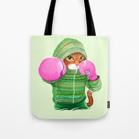 boxing Tote Bags featuring BOXING CAT 4 by Tummeow