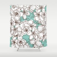 cherry blossom Shower Curtains featuring Cherry Blossom by ChantalNathalie