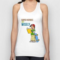 super heroes Tank Tops featuring Super Heroes Act Wisely by youngmindz