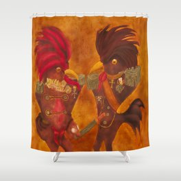 Roosters with Ranks / Galos com Galões Shower Curtain