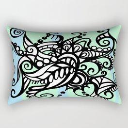 Freestyle Doodle Marker Design - Blue Green Rectangular Pillow