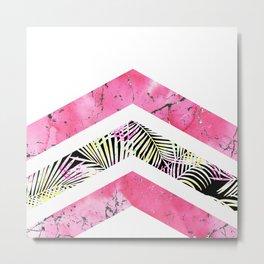 Modern black pink tropical marble chevron Metal Print