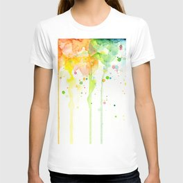 Watercolor Rainbow Splatters Abstract Texture T-shirt