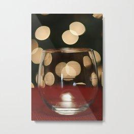 Red Wine Glass, Christmas Tree Lights Metal Print